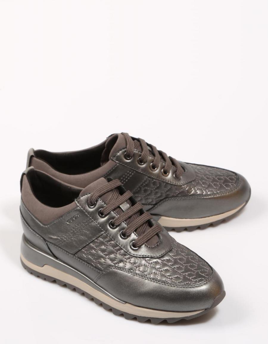 D84aqb Sport Geox Zapatos Tabelya Piel Plata 67629 qvtt5w7