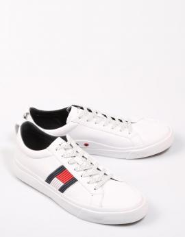 ZAPATILLAS FLAG DETAIL LEATHER SNEAKER