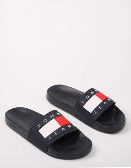 TOMMY JEANS FLAG POOL SLIDE Azul marino