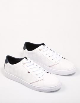 TOMMY JACQUARD LEATHER SNEAKER Blanco