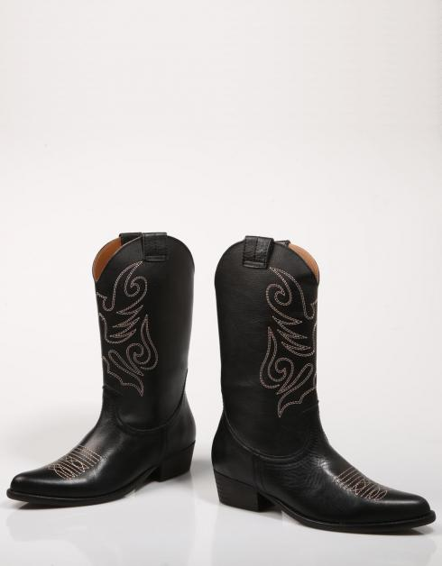Bryan Stepwise cowboy black leather boots model Jandra