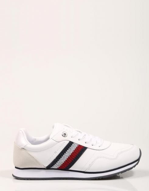 TOMMY LEATHER LOW RUNNER - ZAPATILLAS - Blanco